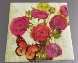 Servet gekleurde rozen en vlinders 33x33cm