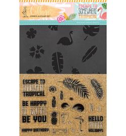CUT-IES 20087 Stamp + stempels Tropical Escape, Collage – Tropical