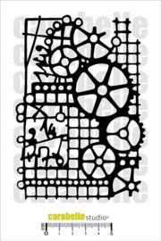 Carabelle masque 10,5x14,8cm trames et rouages MA60047