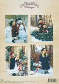 "A4 knipvel Nellie's Christmas Colour Vintage NEVI015 ""Snow fun"""