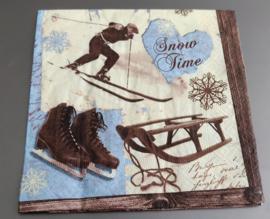 Servet schaatsen, slee 33x33cm