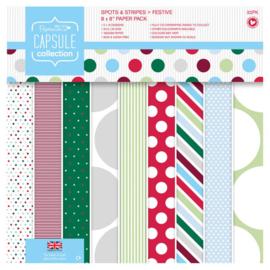 "8 x 8"" Paper Pack (32pk) - Capsule - Spots & Stripes Festive - (PMA 160210)"
