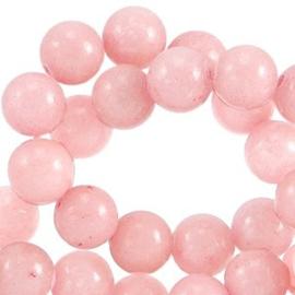 Natuursteen jade kraal zacht roze 6mm 20 stuks