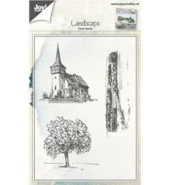 6410/0418 Tafereel Kerk,Boom,Landschap
