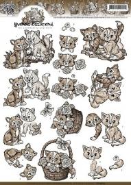 Yvonne Creations - CD10627  3D Knipvel - Bruine Katjes