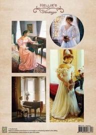 A4 knipvel Nellie's Colour Vintage NEVI019 Waiting