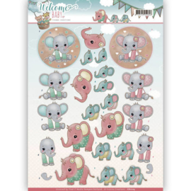 Yvonne Creations - 3D-Knipvel - Welcome Baby - Little Elephants CD11115