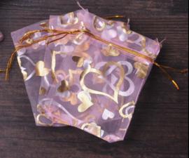 Organza zakjes roze met hart 7x9cm - 10 stuks