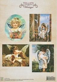 "A4 knipvel Nellie's Christmas Colour Vintage NEVI018 ""Angels"""