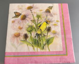 Servet roze met bloemen, vlinders, vogel 33x33cm