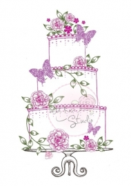 Wild Rose Studio Clearstamp CL213 Wedding Cake