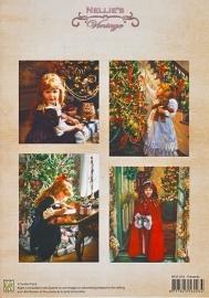"A4 knipvel Nellie's Christmas Colour Vintage NEVI016 ""Presents"""