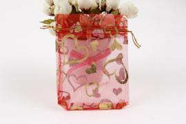 Organza zakjes rood met hart 7x9cm - 10 stuks