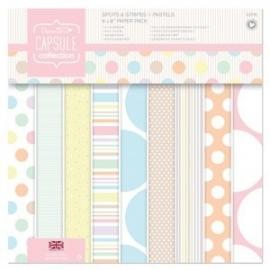 PMA 160202  8 x 8 Paper Pack (32pk) - Capsule - Spots & Stripes Pastels