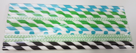 Rietjes 25 stuks lichtblauw, zwart, groen
