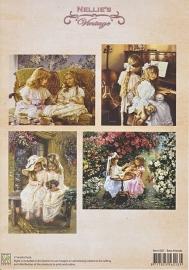 """A4 knipvel Nellie's colour Vintage NEVI007 """"Best Friends"""""""