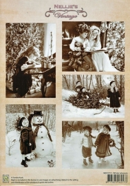 "A4 knipvel Nellie's Christmas Vintage NEVI010 ""Winter pleasure"""