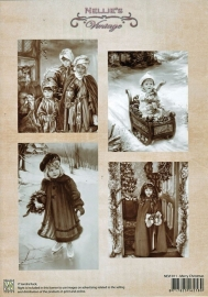 "A4 knipvel Nellie's Christmas Vintage NEVI011 ""Merry Christmas"""
