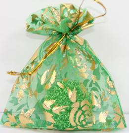 Organza zakjes groen met bloem 7x9cm - 10 stuks