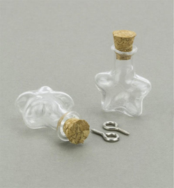 12423-2315 - Mini Glass Bottles, with cork & screw hanger, star