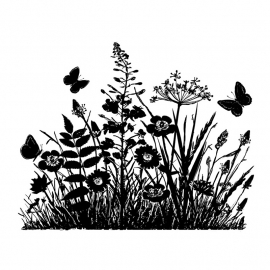 Crafty Individuals CI-367 Wild Flowers and Butterflies Silhouette
