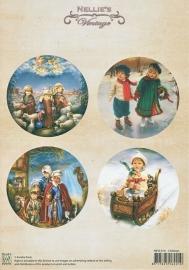 "A4 knipvel Nellie's Christmas Colour Vintage NEVI014 ""Children"""