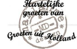 Marianne Design CS0898 hartelijke groeten van, groeten uit Holland