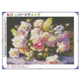 Diamond painting bloemen full 30x40cm - ronde steentjes