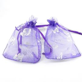 Organza zakjes 7x9cm paars met vlinder 10 stuks