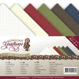 Amy Design - Chrismas Greetings - Linnenkarton A5 - AD-A5-10008 - kerst