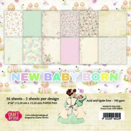 Craft & You Design paperpack- New Baby Born 6x6