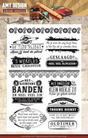 Amy Design - ADCS10013 clearstamps - Vintage Vehicles tekst