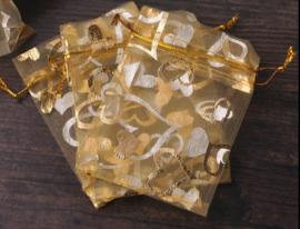 Organza zakjes goud met hart 7x9cm - 10 stuks
