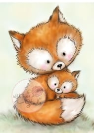 Wild Rose Studio Clearstamp CL492 Mummy Fox and Baby