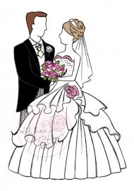 Wild Rose Studio Clearstamp CL211  Wedding couple