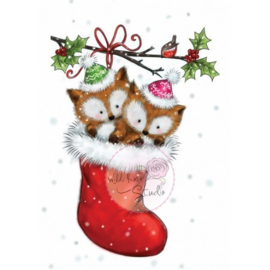 Wild Rose Studio Clear stamp CL499 Foxes in Stocking