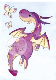 Wild Rose Studio Clearstamp CL487 Dragon Flying