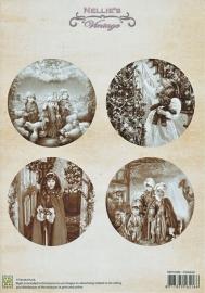 """A4 knipvel Nellie's Christmas Vintage NEVI009 """"Children"""""""