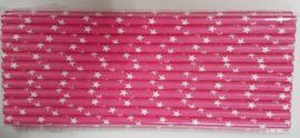 Rietjes 25 stuks sterren roze