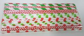 Rietjes 25 stuks groen, rood, wit mix
