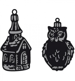 Marianne Design CR1381 Tiny's ornaments church & owl