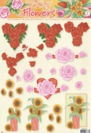 Studio Light - STAPFL02 - Rode en roze rozen met hart en zonnebloem