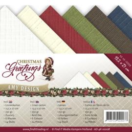 Amy Design - Chrismas Greetings - Linnenkarton - AD-4K-10008 - kerst