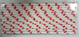 Rietjes 25 stuks hartjes rood wit
