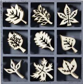 Wood embellishments 45 stuks blaadjes 18521109