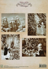 "A4 knipvel Nellie's Christmas Vintage NEVI012 ""presents"""