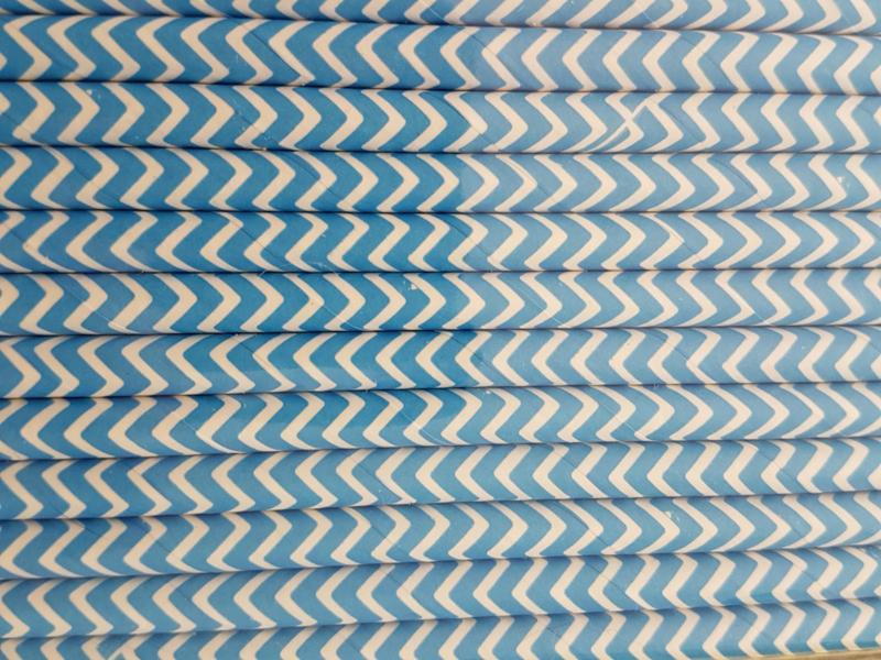 Rietjes 25 stuks  Zigzag blauw