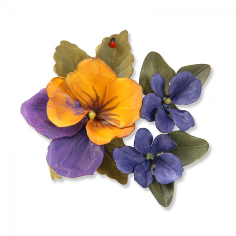 Sizzix Thinlits Die Set 12PK - Flower, Pansy/Violet 658419