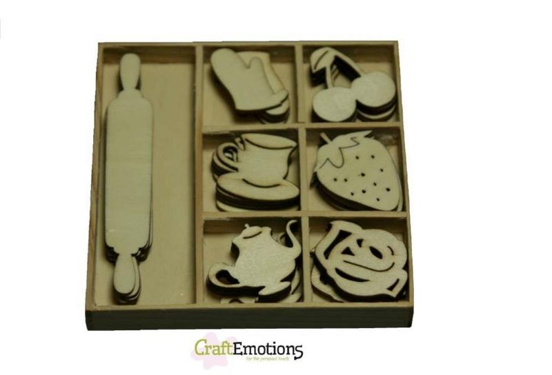 Houten ornamenten doosje Fifties Kitchen 35st. 811500/0102