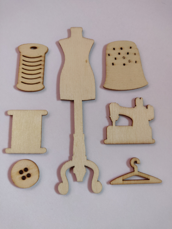 Wood embellishment handwerk setje